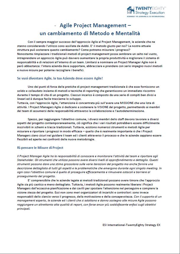 Agile Project Management: un Cambiamento di Metodo e Mentalità