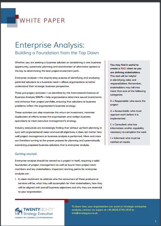 Enterprise Analysis – Building a Foundation from the Top Down