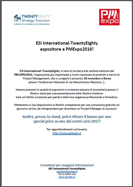 ESI International-TwentyEighty espositore a PMExpo 2016!