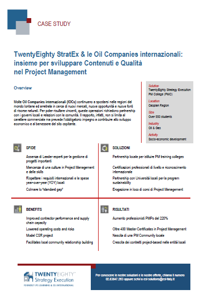 CASE STUDY TwentyEighty StratEx e le Oil Companies internazionali