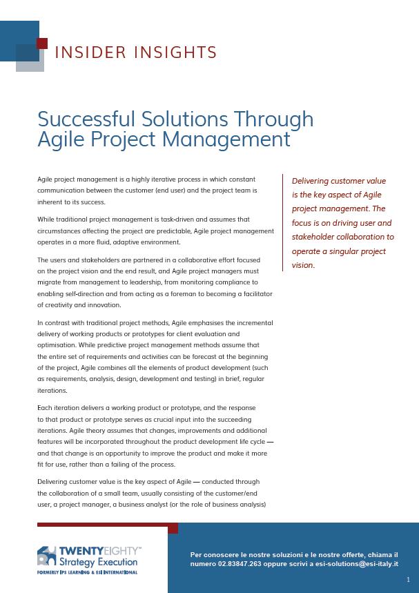 Soluzioni Efficaci con la Metodologia Agile