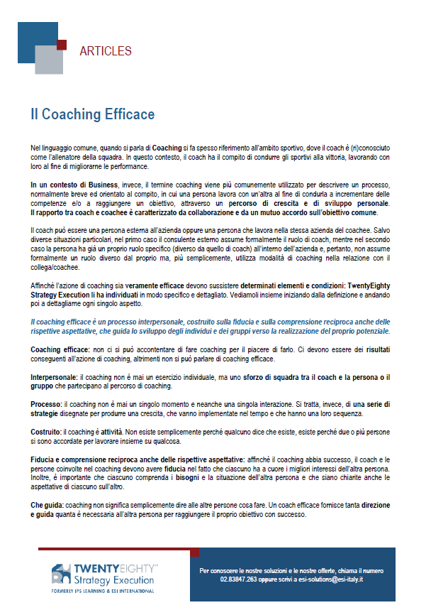 Il Coaching Efficace
