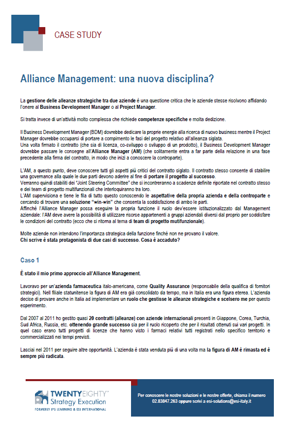 CASE STUDY Alliance Management di Successo!