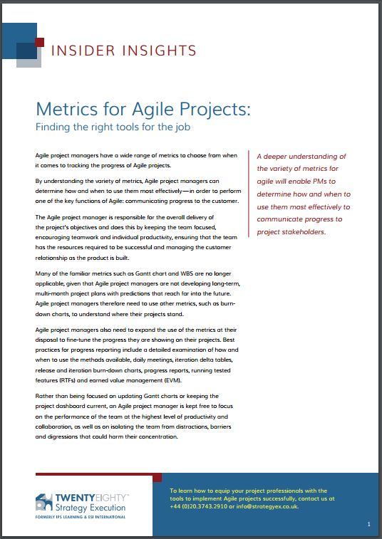 Metrics for Agile Projects