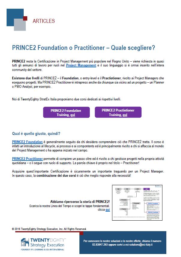 PRINCE2 Foundation o Practitioner: quale scegliere?